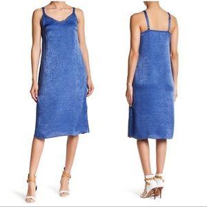 •BOBEAU• Nordstrom Blue Satin Lace Midi Slip Dress